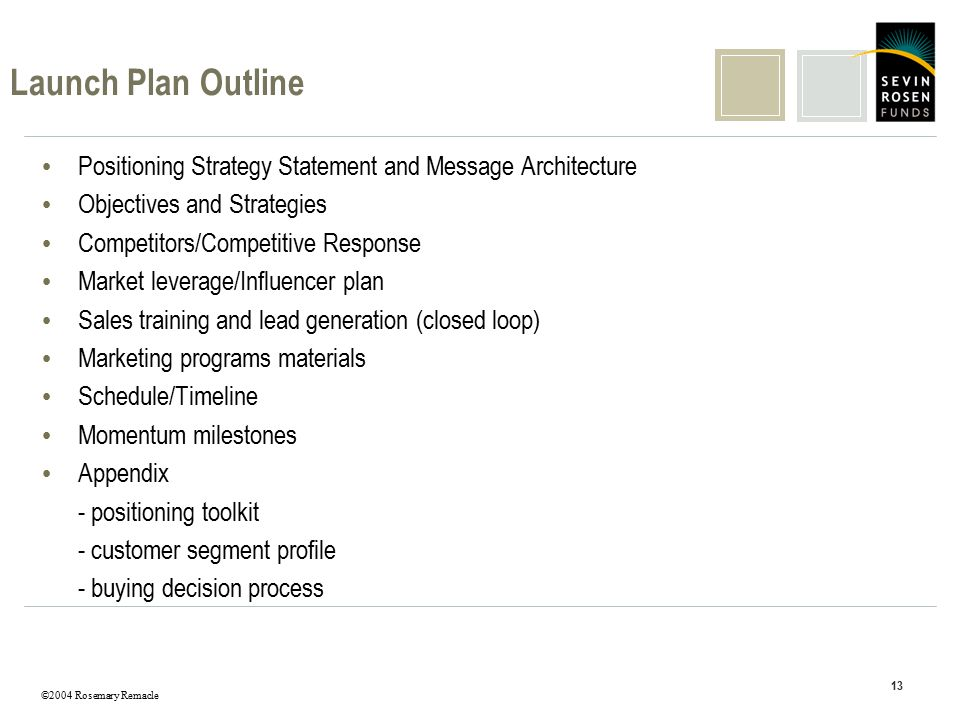 ©2004 Rosemary Remacle 13 Launch Plan Outline Positioning Strategy Statement and Message Architecture Objectives and Strategies Competitors/Competitiv