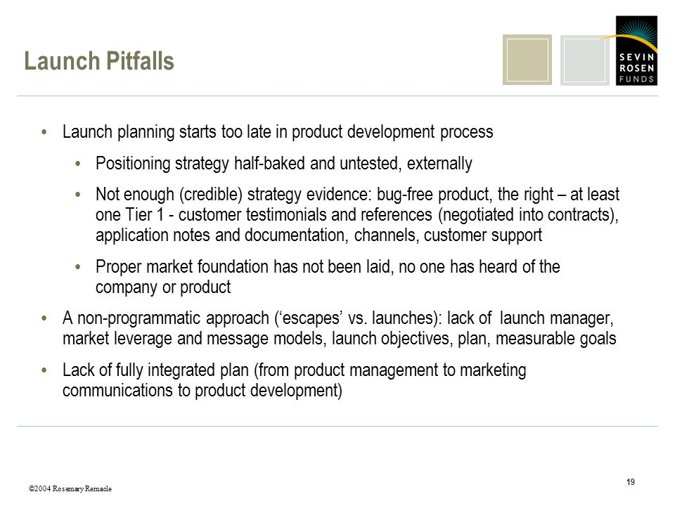 ©2004 Rosemary Remacle 19 Launch Pitfalls Launch planning starts too late in product development process Positioning strategy half-baked and untested,