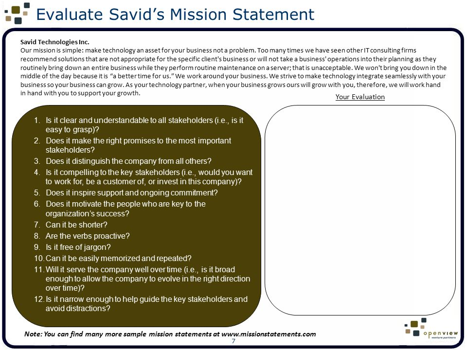 8 Can You Improve Savid's Mission Statement? Insert your revised Savid mission statement here: