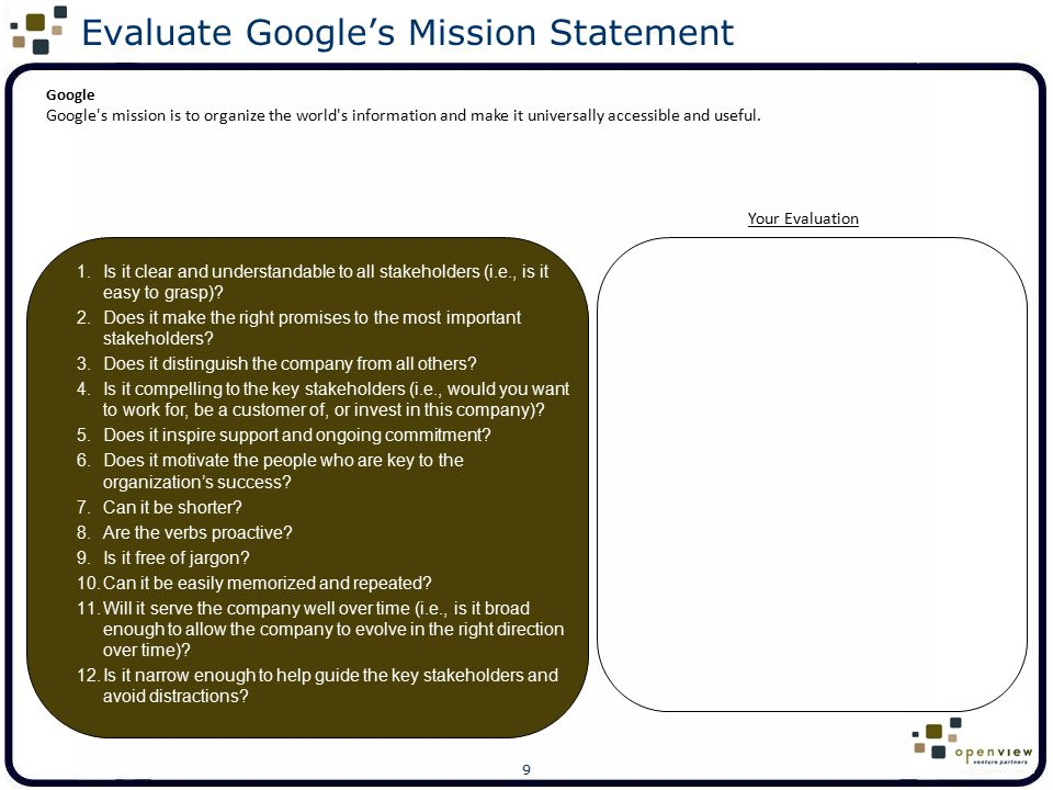 20 Evaluate EMC's Vision Statement Your Evaluation EMC We believe that information is a business' most important asset.