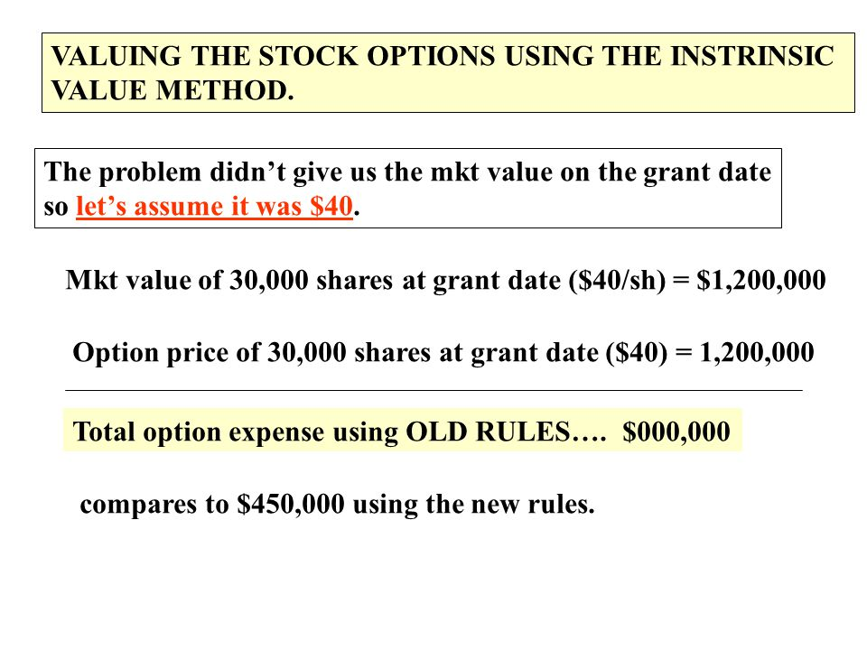 VALUING THE STOCK OPTIONS USING THE INSTRINSIC VALUE METHOD. The problem didn't give us the mkt value on the grant date so let's assume it was $40. Mk