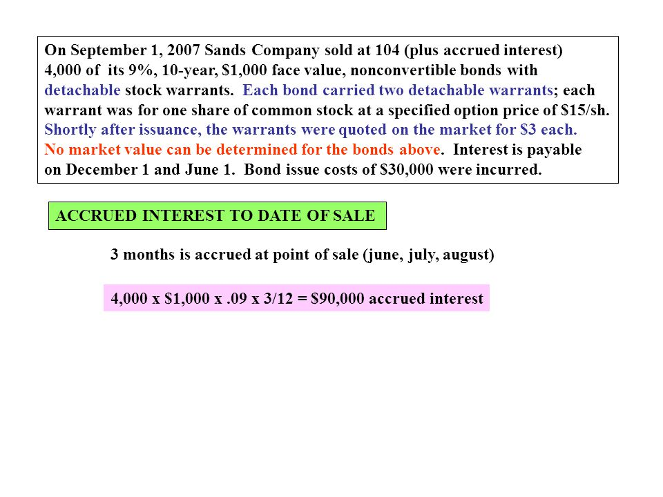 On September 1, 2007 Sands Company sold at 104 (plus accrued interest) 4,000 of its 9%, 10-year, $1,000 face value, nonconvertible bonds with detachab