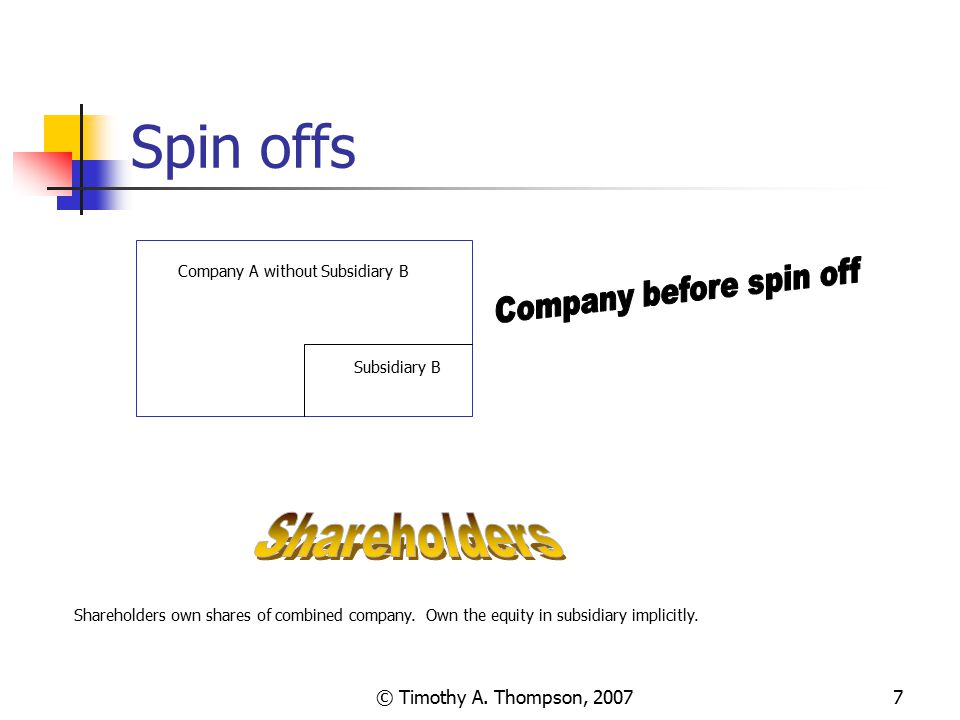 © Timothy A. Thompson, 20077 Spin offs Company A without Subsidiary B Subsidiary B Shareholders own shares of combined company. Own the equity in subs