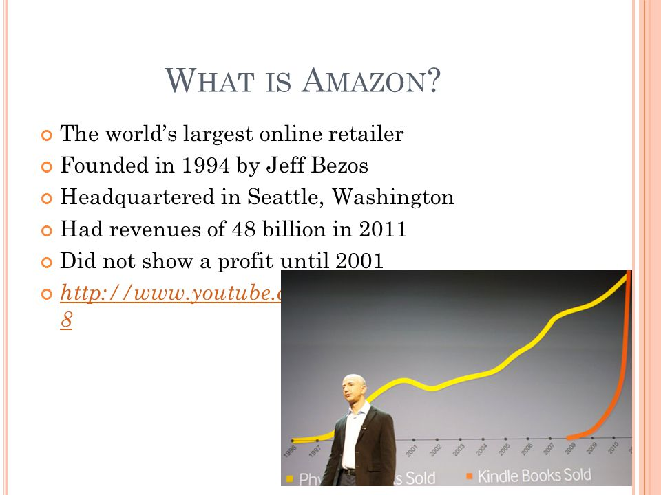 W HAT IS A MAZON ? The world's largest online retailer Founded in 1994 by Jeff Bezos Headquartered in Seattle, Washington Had revenues of 48 billion i