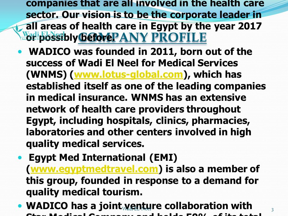 COMPANY PROFILE WADICO is the new rising star in our group of companies that are all involved in the health care sector. Our vision is to be the corpo