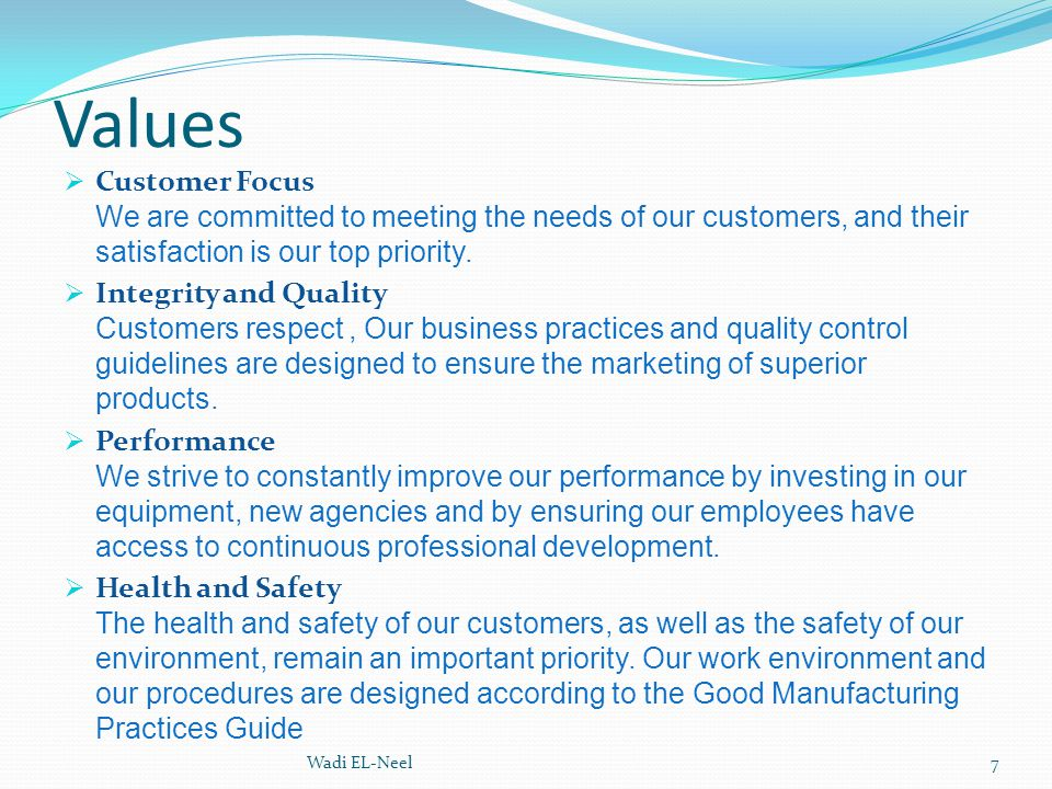 Values  Customer Focus We are committed to meeting the needs of our customers, and their satisfaction is our top priority.  Integrity and Quality Cu