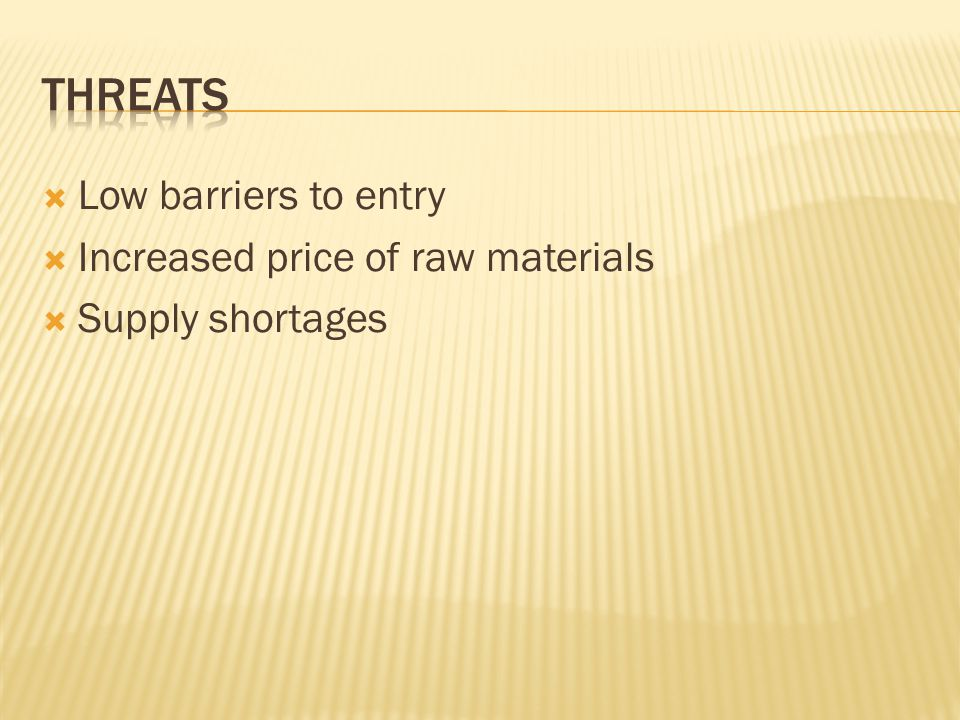  Low barriers to entry  Increased price of raw materials  Supply shortages