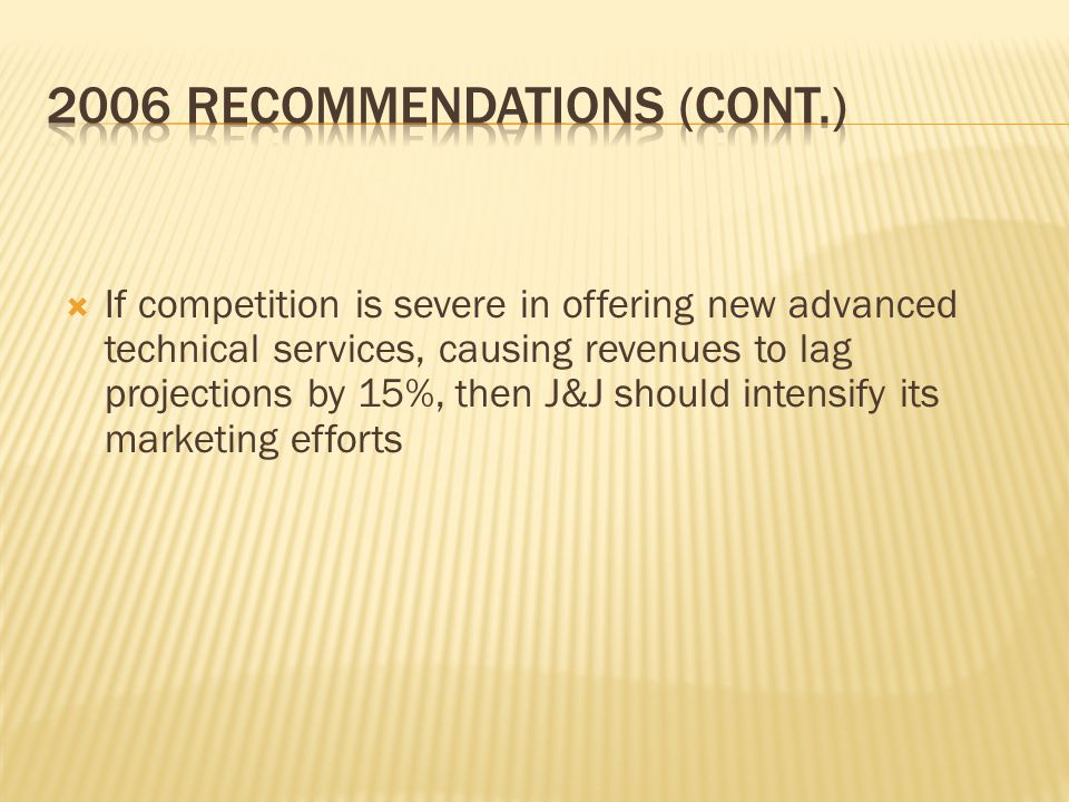  If competition is severe in offering new advanced technical services, causing revenues to lag projections by 15%, then J&J should intensify its marketing efforts