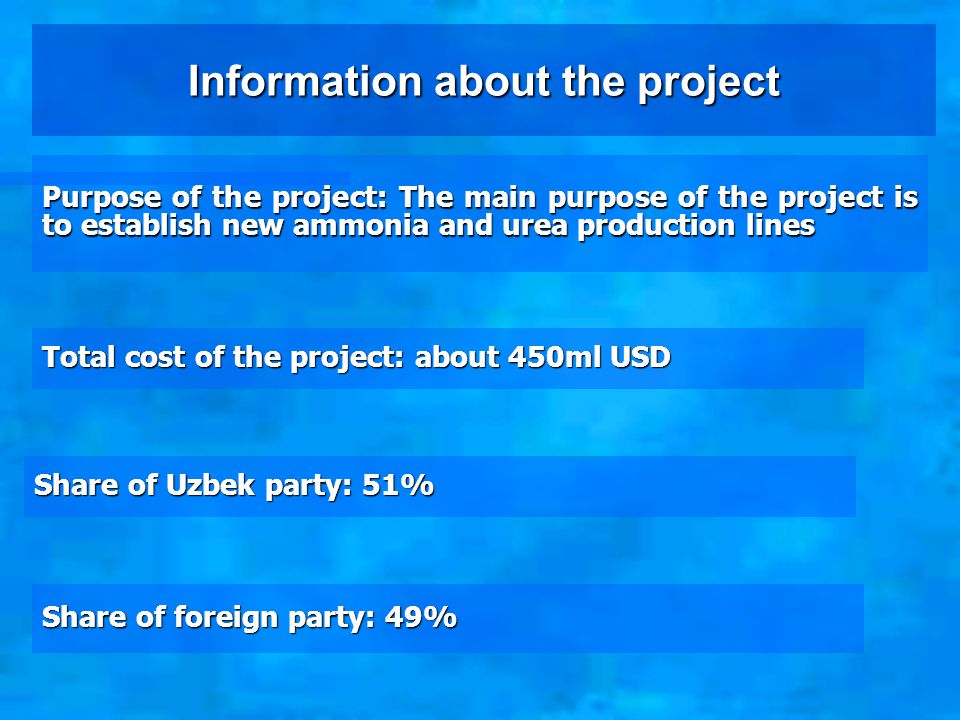 Information about the production Type of production: Production of mineral fertilizers, chemical fibers, chemical reagents for mining industry.