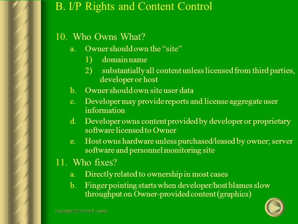 B. I/P Rights and Content Control 10.Who Owns What.
