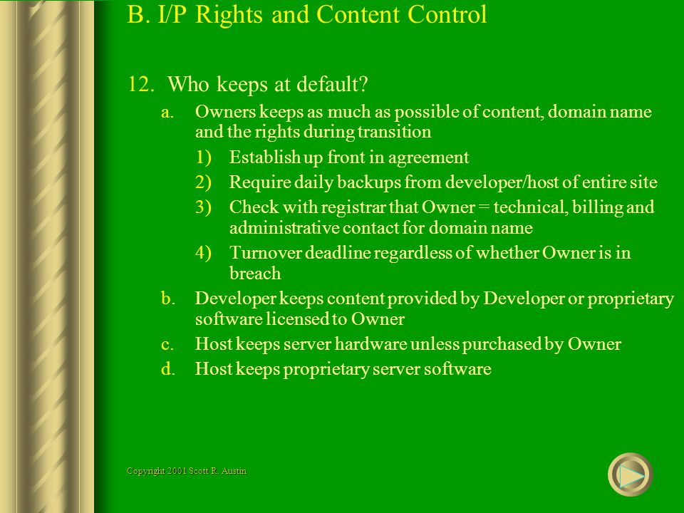 B. I/P Rights and Content Control 12.Who keeps at default.