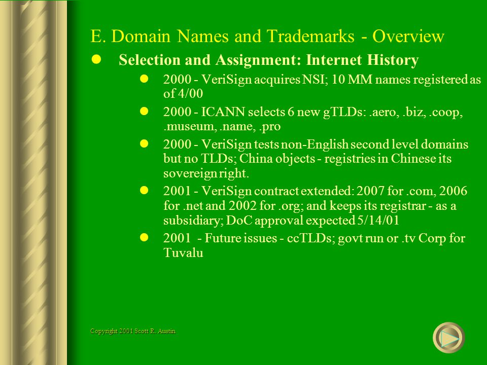 E. Domain Names and Trademarks - Overview Selection and Assignment: Internet History 2000 - VeriSign acquires NSI; 10 MM names registered as of 4/00 2