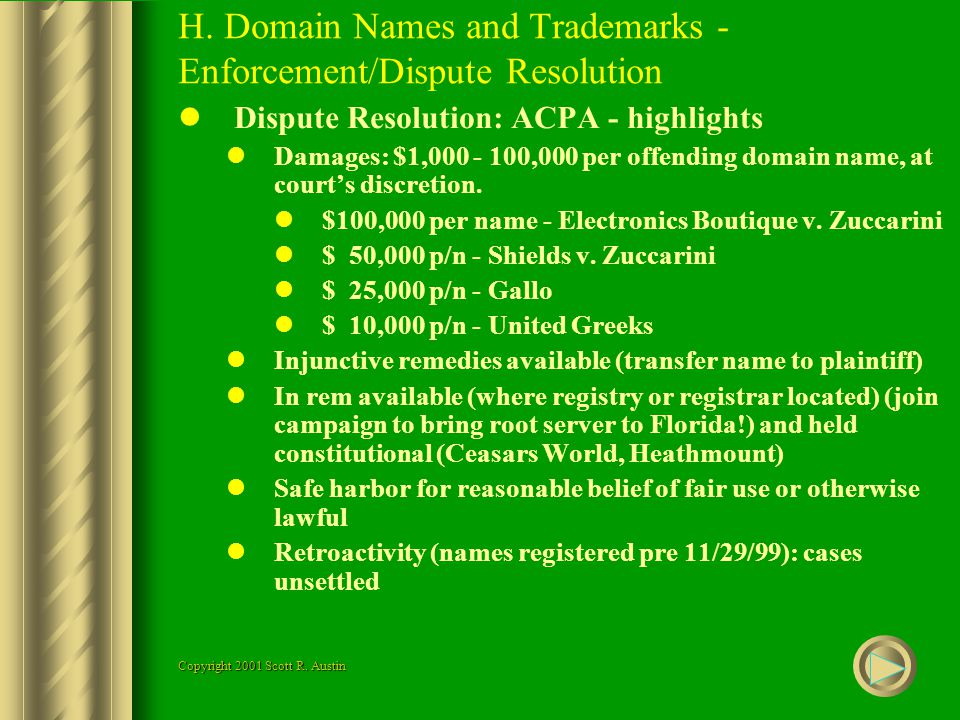 H. Domain Names and Trademarks - Enforcement/Dispute Resolution Dispute Resolution: ACPA - highlights Damages: $1,000 - 100,000 per offending domain n