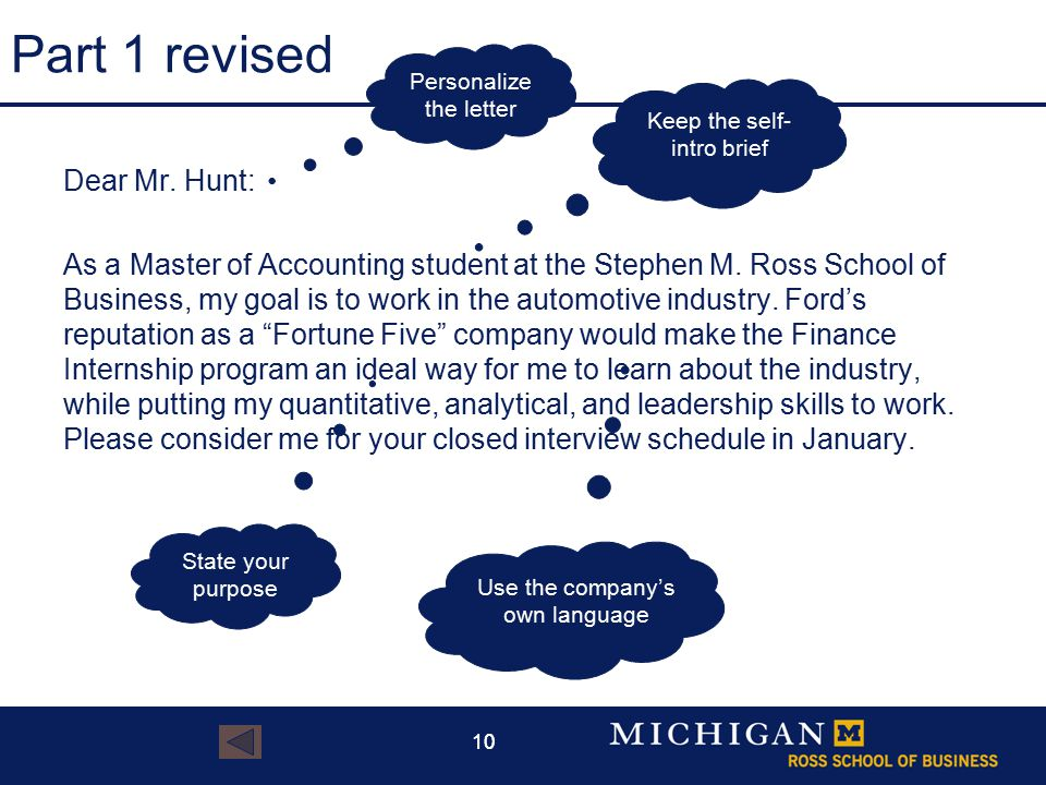 10 Part 1 revised Dear Mr. Hunt: As a Master of Accounting student at the Stephen M.