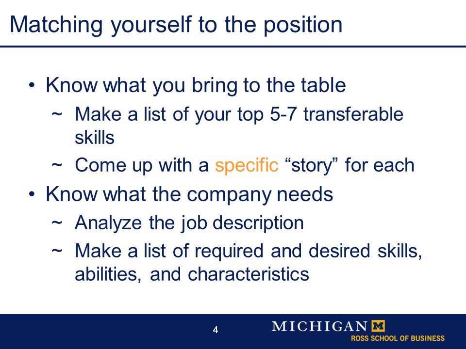 44 Matching yourself to the position Know what you bring to the table  Make a list of your top 5-7 transferable skills  Come up with a specific story for each Know what the company needs  Analyze the job description  Make a list of required and desired skills, abilities, and characteristics
