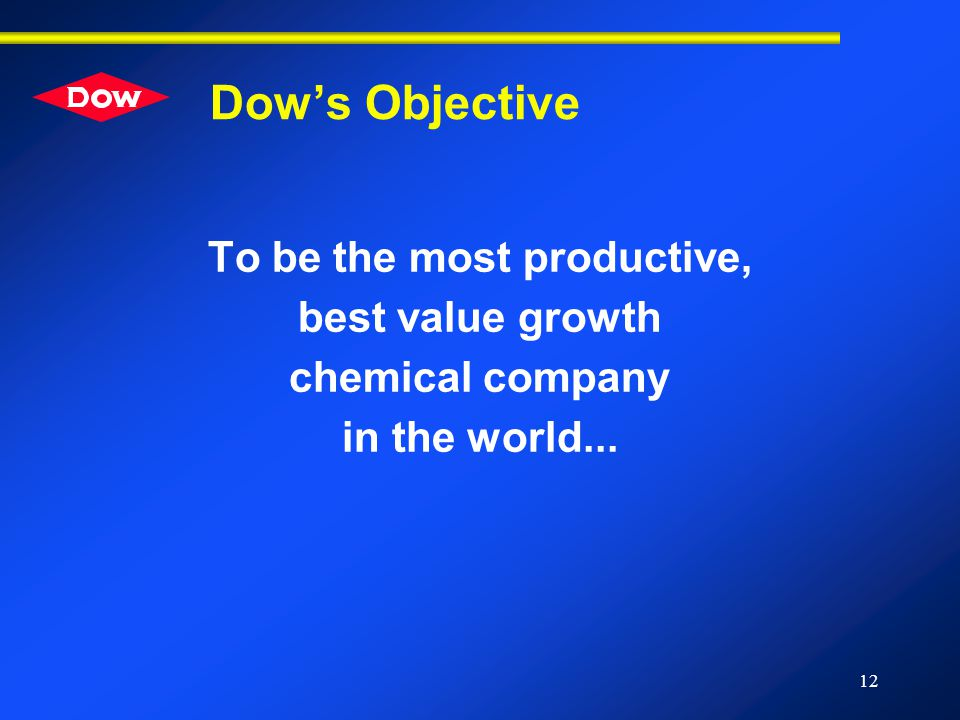 12 Dow's Objective To be the most productive, best value growth chemical company in the world...