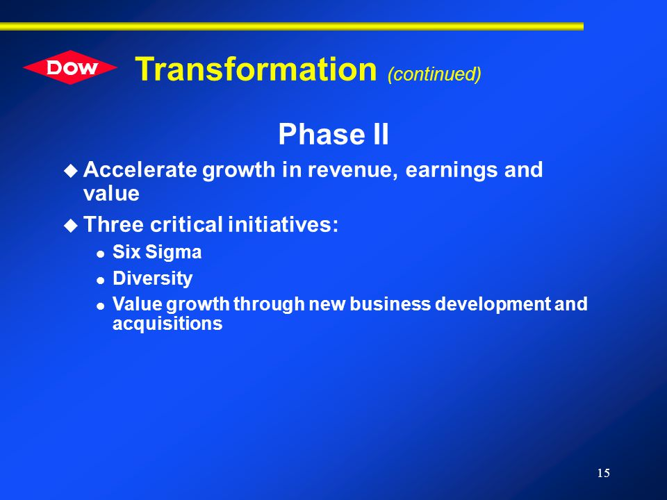 15 Transformation (continued) Phase II u Accelerate growth in revenue, earnings and value u Three critical initiatives: l Six Sigma l Diversity l Value growth through new business development and acquisitions