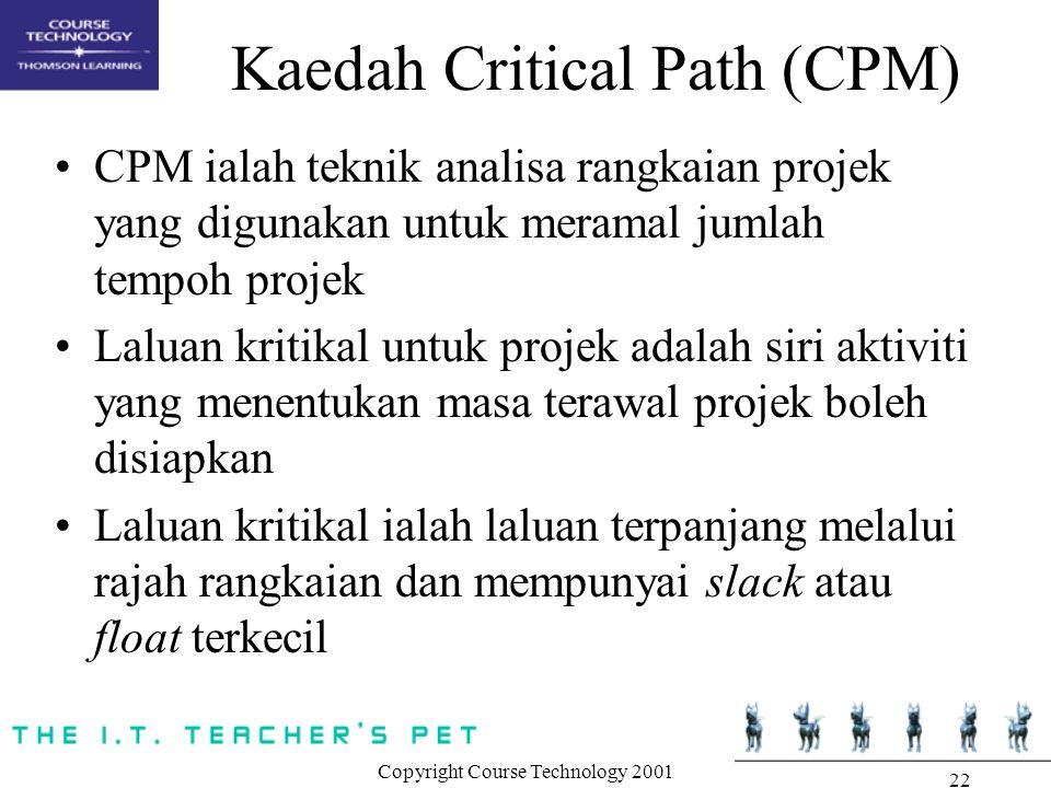 Copyright Course Technology 2001 22 Kaedah Critical Path (CPM) CPM ialah teknik analisa rangkaian projek yang digunakan untuk meramal jumlah tempoh projek Laluan kritikal untuk projek adalah siri aktiviti yang menentukan masa terawal projek boleh disiapkan Laluan kritikal ialah laluan terpanjang melalui rajah rangkaian dan mempunyai slack atau float terkecil