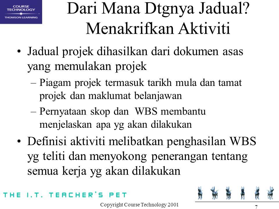 Copyright Course Technology 2001 7 Dari Mana Dtgnya Jadual.