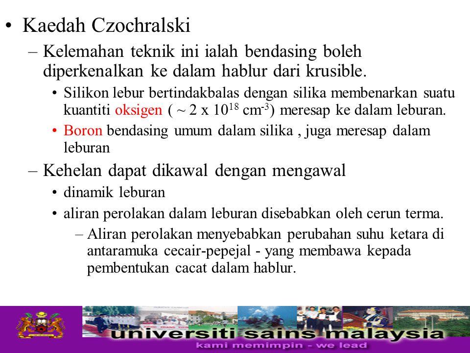 Kaedah Czochralski –Kelemahan teknik ini ialah bendasing boleh diperkenalkan ke dalam hablur dari krusible. Silikon lebur bertindakbalas dengan silika