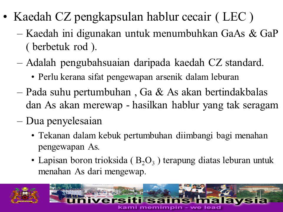 Kaedah CZ pengkapsulan hablur cecair ( LEC ) –Kaedah ini digunakan untuk menumbuhkan GaAs & GaP ( berbetuk rod ). –Adalah pengubahsuaian daripada kaed
