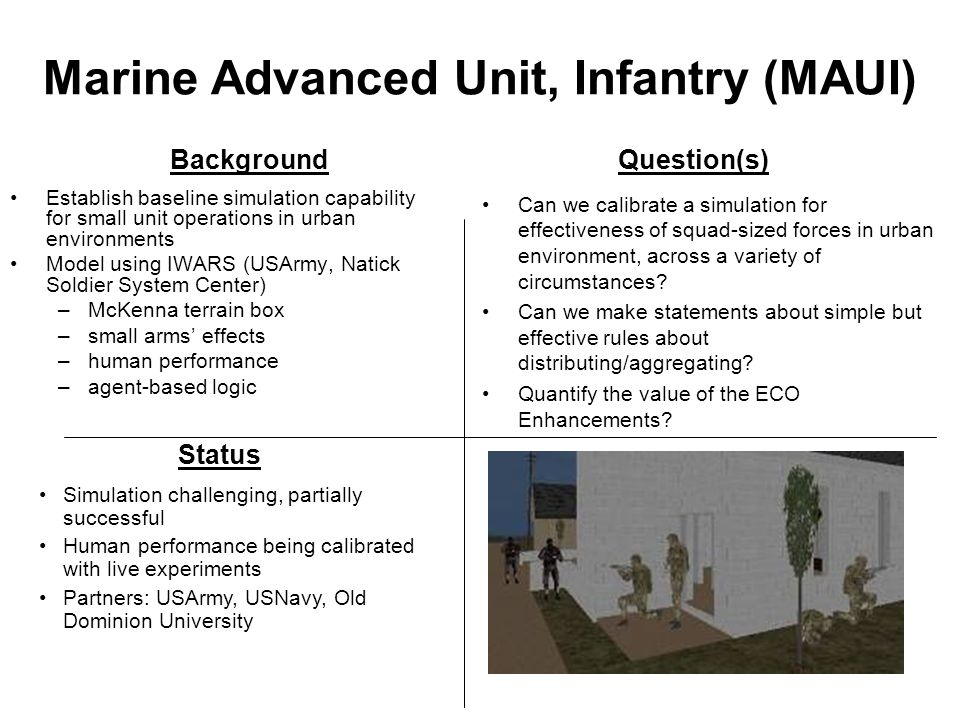 Marine Advanced Unit, Infantry (MAUI) Can we calibrate a simulation for effectiveness of squad-sized forces in urban environment, across a variety of