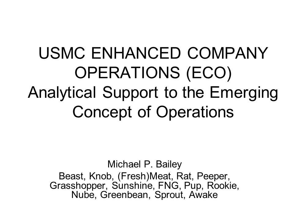 OUTLINE Explaining ECO ECO Scenario Ongoing and Recent Studies