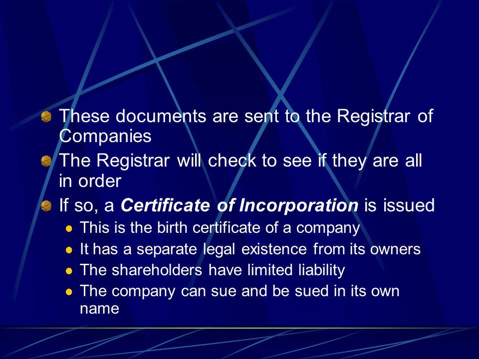 Memorandum of Association Articles of Association Form A1