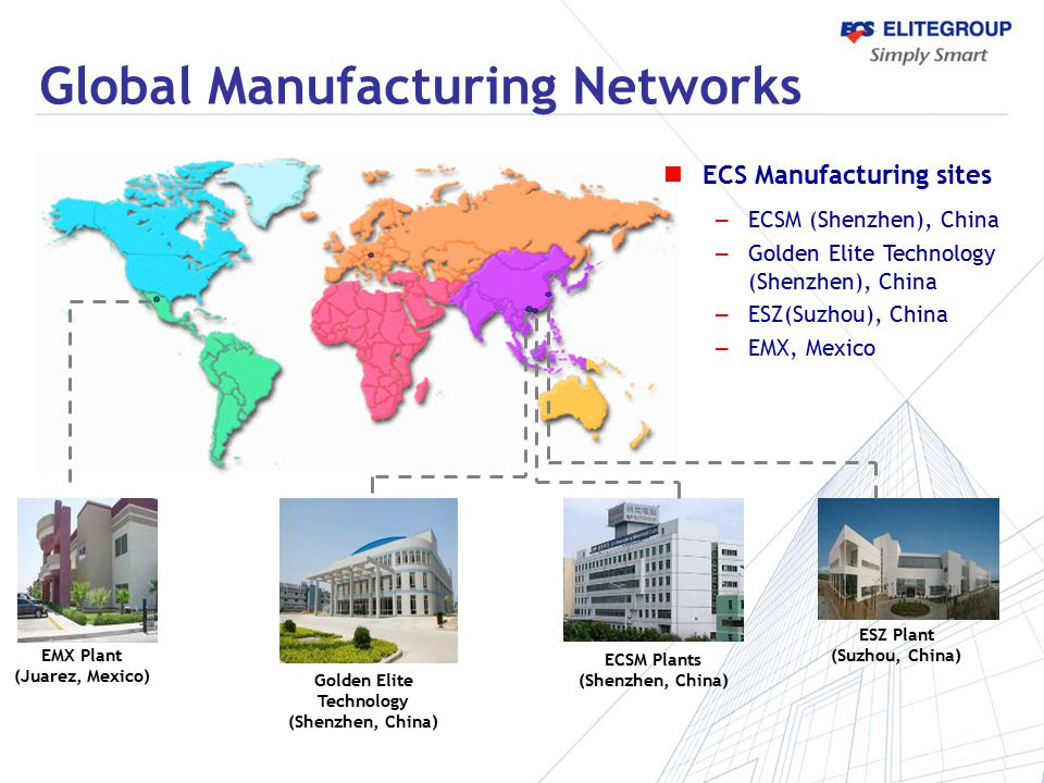 Global Manufacturing Networks ESZ Plant (Suzhou, China) ECSM Plants (Shenzhen, China) Golden Elite Technology (Shenzhen, China) EMX Plant (Juarez, Mex
