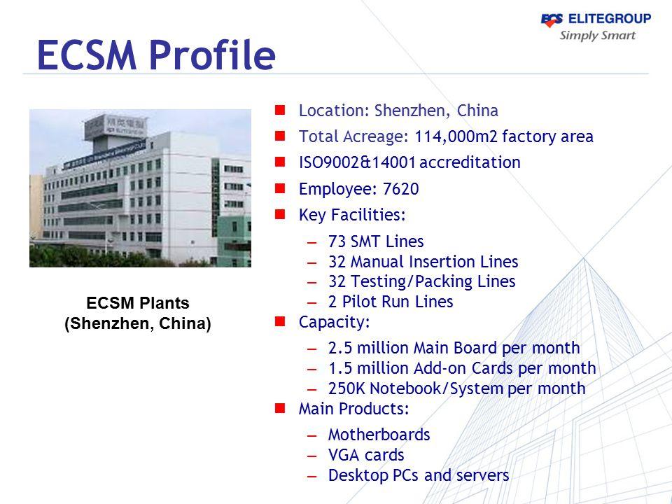ECSM Profile ECSM Plants (Shenzhen, China) Location: Shenzhen, China Total Acreage: 114,000m2 factory area ISO9002&14001 accreditation Employee: 7620
