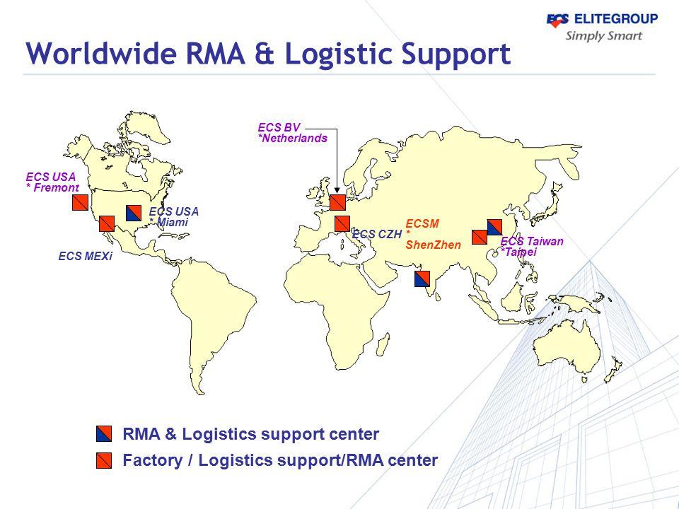 ECS USA * Fremont Worldwide RMA & Logistic Support ECS Taiwan *Taipei RMA & Logistics support center Factory / Logistics support/RMA center ECSM * She