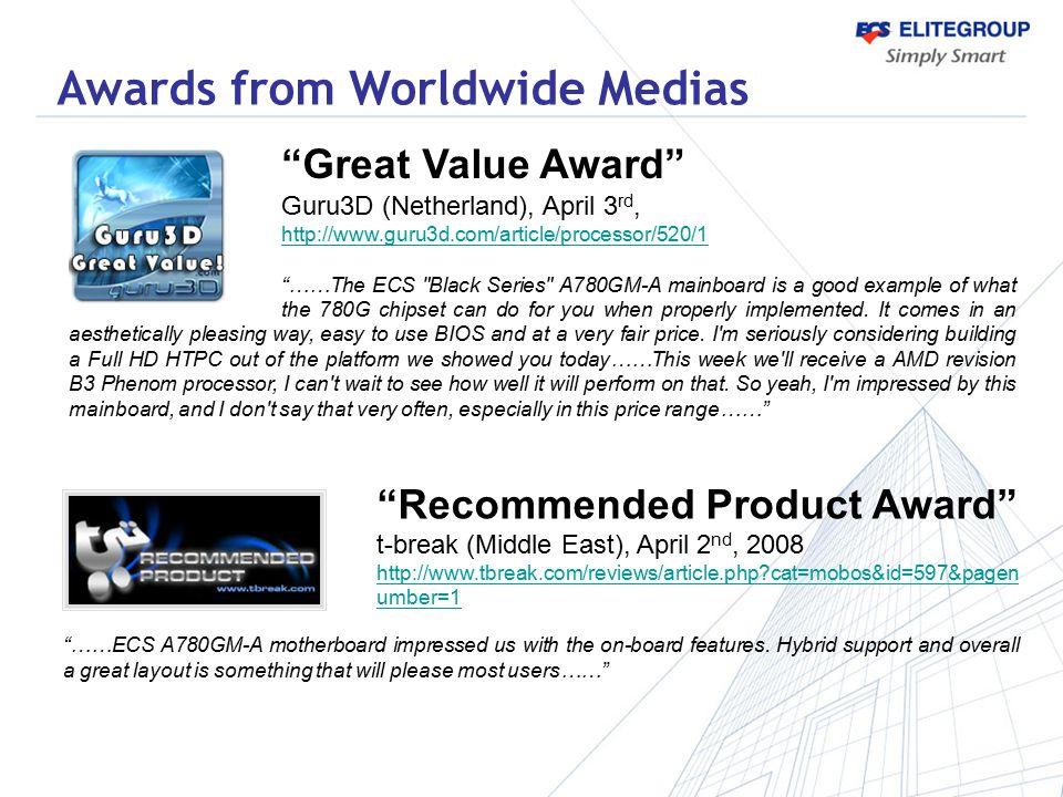 """Great Value Award"" Guru3D (Netherland), April 3 rd, http://www.guru3d.com/article/processor/520/1 ""……The ECS"