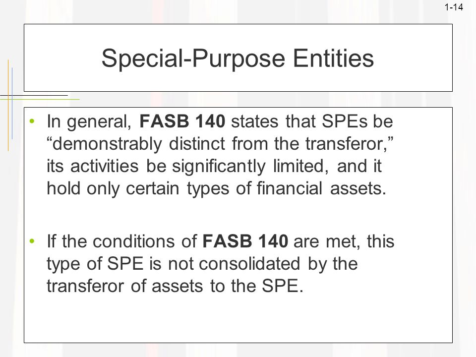 1-14 Special-Purpose Entities In general, FASB 140 states that SPEs be demonstrably distinct from the transferor, its activities be significantly limited, and it hold only certain types of financial assets.