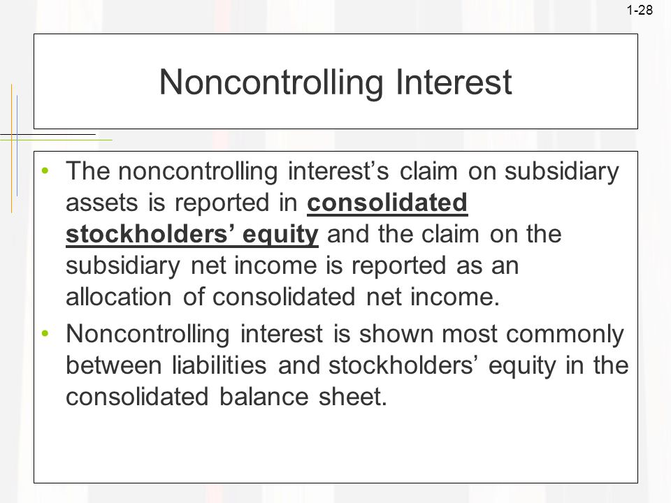 1-28 Noncontrolling Interest The noncontrolling interest's claim on subsidiary assets is reported in consolidated stockholders' equity and the claim on the subsidiary net income is reported as an allocation of consolidated net income.