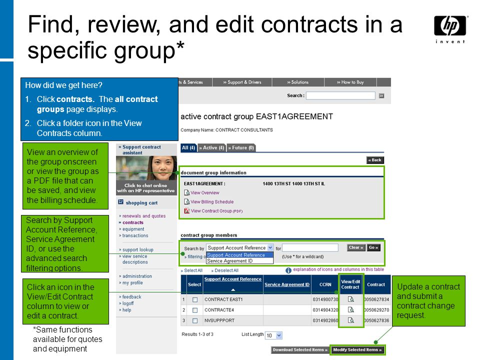 How did we get here? 1.Click contracts. The all contract groups page displays. 2.Click a folder icon in the View Contracts column. Find, review, and e