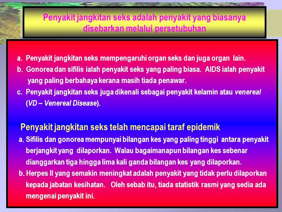 Penyakit jangkitan seks adalah penyakit yang biasanya disebarkan melalui persetubuhan a. Penyakit jangkitan seks mempengaruhi organ seks dan juga orga