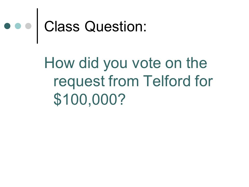 Class Question: How did you vote on the request from Telford for $100,000?