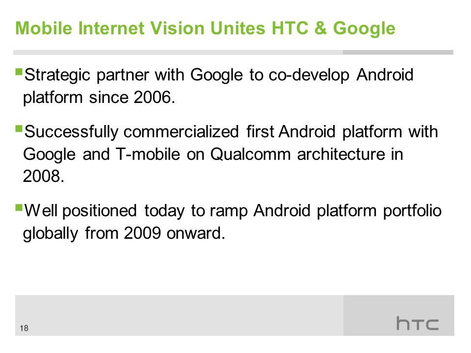 Mobile Internet Vision Unites HTC & Google  Strategic partner with Google to co-develop Android platform since 2006.