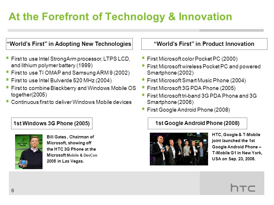 At the Forefront of Technology & Innovation World's First in Adopting New Technologies World's First in Product Innovation  First to use Intel StrongArm processor, LTPS LCD, and lithium polymer battery (1999)  First to use TI OMAP and Samsung ARM 9 (2002)  First to use Intel Bulverde 520 MHz (2004)  First to combine Blackberry and Windows Mobile OS together(2005)  Continuous first to deliver Windows Mobile devices  First Microsoft color Pocket PC (2000)  First Microsoft wireless Pocket PC and powered Smartphone (2002)  First Microsoft Smart Music Phone (2004)  First Microsoft 3G PDA Phone (2005)  First Microsoft tri-band 3G PDA Phone and 3G Smartphone (2006)  First Google Android Phone (2008) 1st Windows 3G Phone (2005) HTC, Google & T-Mobile joint launched the 1st Google Android Phone – T-Mobile G1 in New York, USA on Sep.