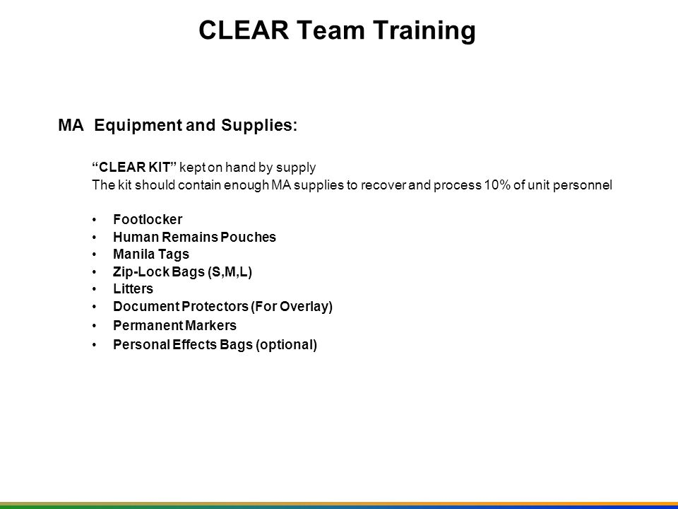 CLEAR Team Training PERSONAL PROTECTIVE EQUIPMENT OR PPE Bio- Hazard Bags Latex Gloves Facemasks Foot Covering Bioprotective Suits Hand Disinfectant