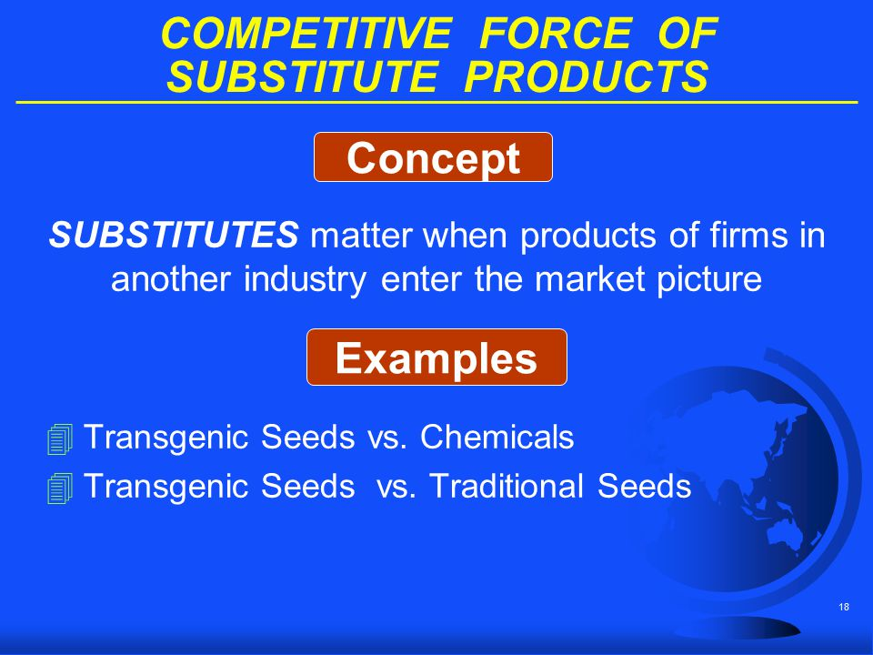 18 COMPETITIVE FORCE OF SUBSTITUTE PRODUCTS SUBSTITUTES matter when products of firms in another industry enter the market picture 4Transgenic Seeds v
