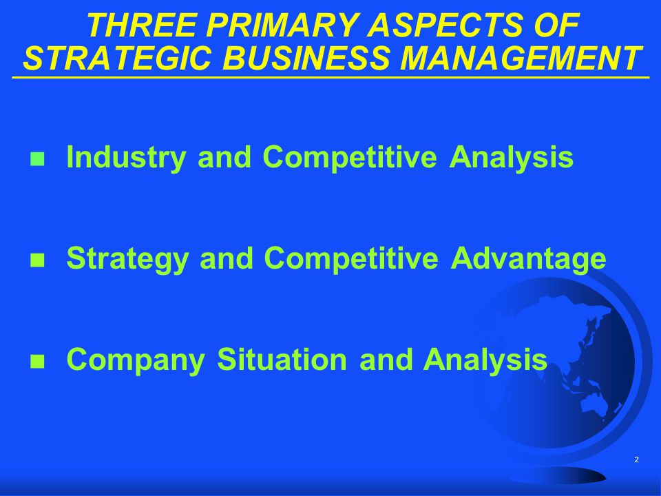 3 THREE PRIMARY ASPECTS OF STRATEGIC BUSINESS MANAGEMENT n Industry and Competitive Analysis n Strategy and Competitive Advantage n Company Situation and Analysis