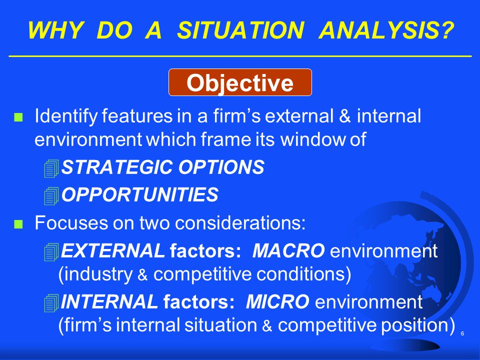 6 WHY DO A SITUATION ANALYSIS? n Identify features in a firm's external & internal environment which frame its window of 4STRATEGIC OPTIONS 4OPPORTUNI