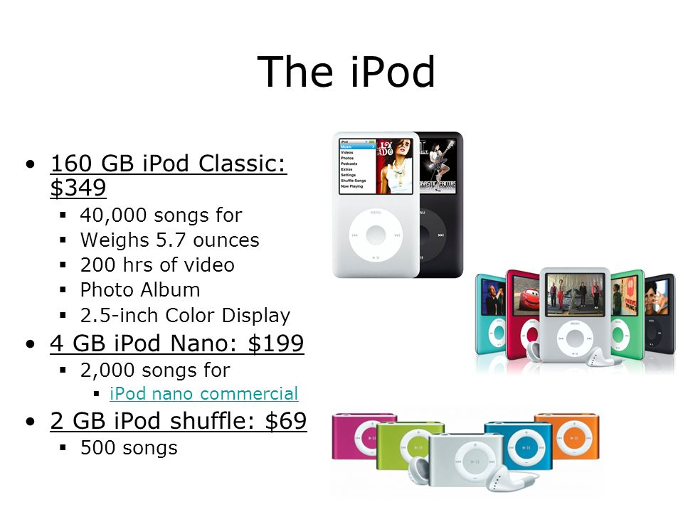 The iPod 160 GB iPod Classic: $349  40,000 songs for  Weighs 5.7 ounces  200 hrs of video  Photo Album  2.5-inch Color Display 4 GB iPod Nano: $1