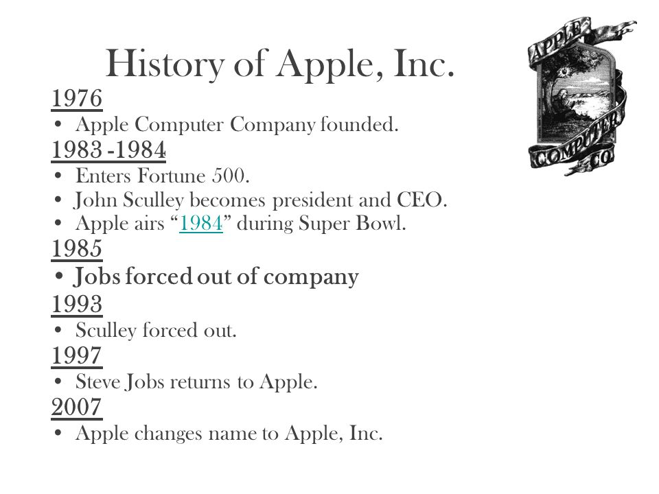 """History of Apple, Inc. 1976 Apple Computer Company founded. 1983 -1984 Enters Fortune 500. John Sculley becomes president and CEO. Apple airs """"1984"""" d"""