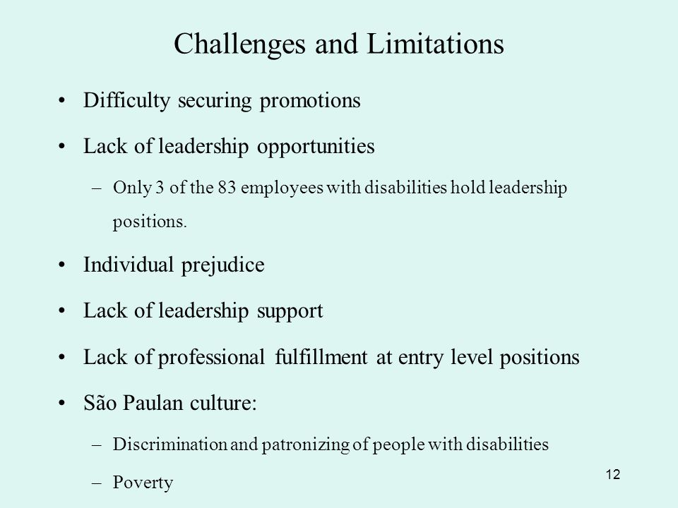Challenges and Limitations Difficulty securing promotions Lack of leadership opportunities –Only 3 of the 83 employees with disabilities hold leadership positions.