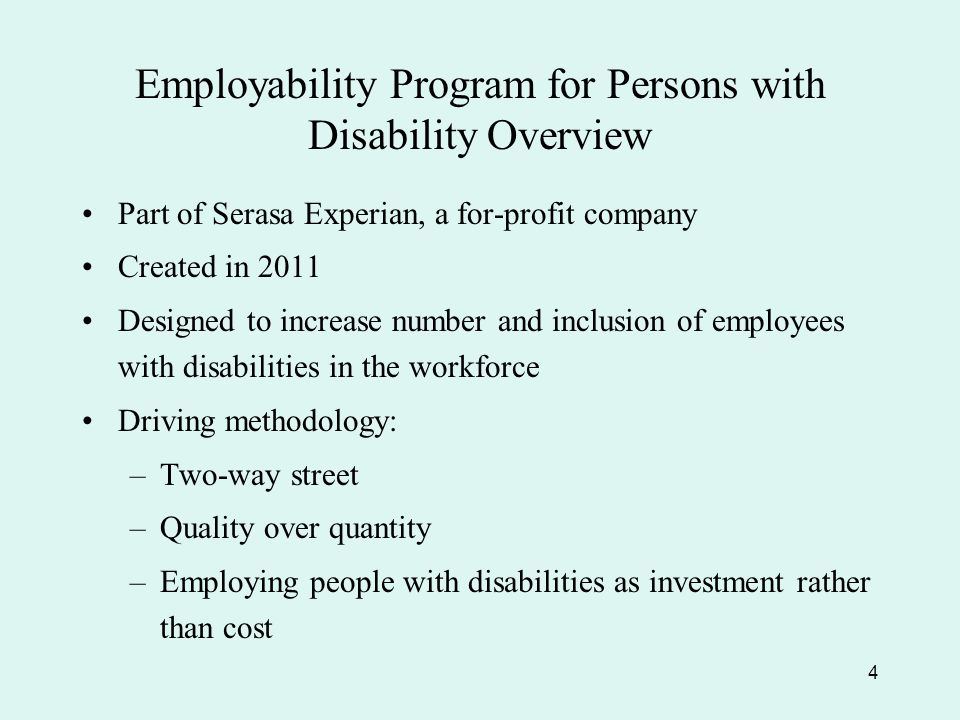 Employability Program for Persons with Disability Overview Part of Serasa Experian, a for-profit company Created in 2011 Designed to increase number and inclusion of employees with disabilities in the workforce Driving methodology: –Two-way street –Quality over quantity –Employing people with disabilities as investment rather than cost 4