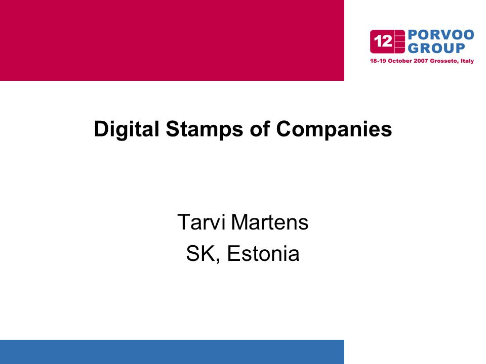 Digital Stamps of Companies Tarvi Martens SK, Estonia