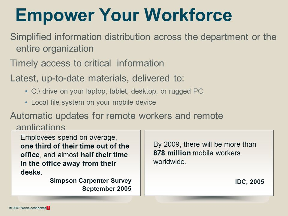 © 2007 Nokia confidential Empower Your Workforce Simplified information distribution across the department or the entire organization Timely access to