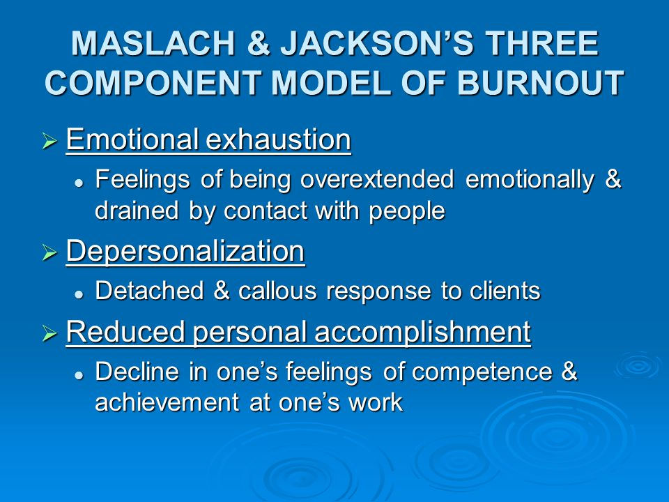 MASLACH & JACKSON'S THREE COMPONENT MODEL OF BURNOUT  Emotional exhaustion Feelings of being overextended emotionally & drained by contact with peopl